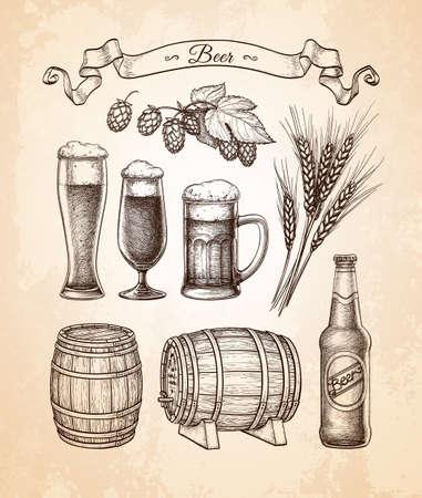 Big beer set. Stock Illustratie
