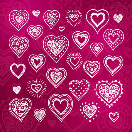 Hand drawn hearts set.