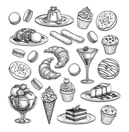 Sketch set of dessert. Stock Illustratie