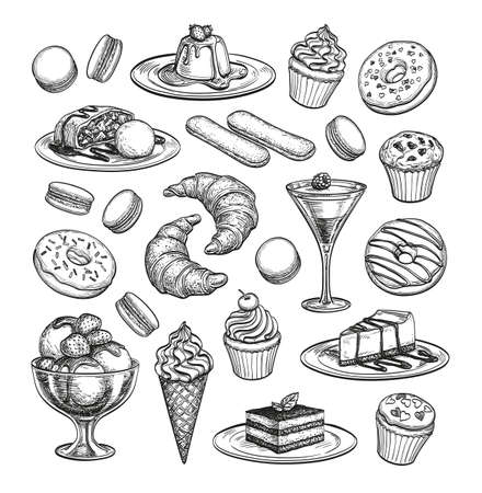 raisin: Sketch set of dessert. Illustration