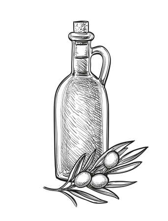 Bottle of olive oil and olive branch.