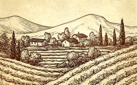 distillery: Hand drawn landscape.