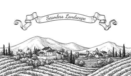 Vineyard seamless landscape.  イラスト・ベクター素材