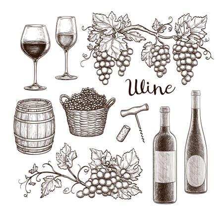 Wine set isolated on white background.