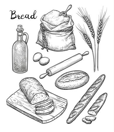 Ingredients and bread set.