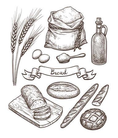 재료와 빵 세트.