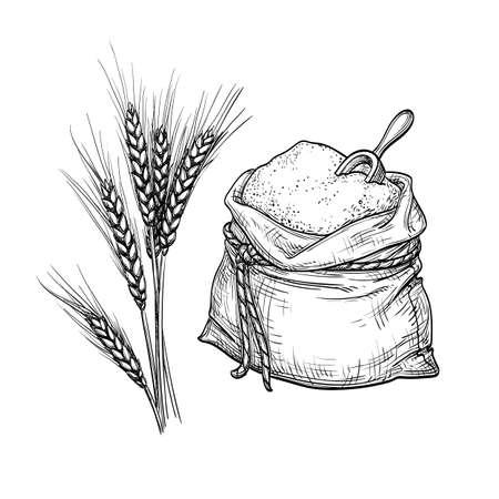 Tarwe en zak bloem. Vector Illustratie