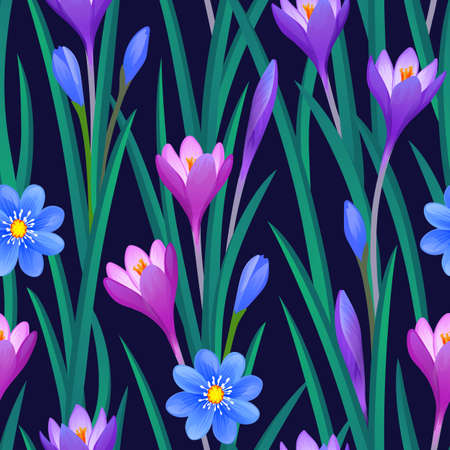 Floral seamless pattern with crocuses.
