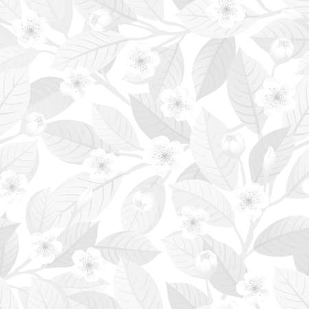 White floral seamless pattern.
