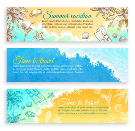 Summer vacation. Set of horizontal banner templates. Website header images. Hand drawn vector illustrations. Retro style.