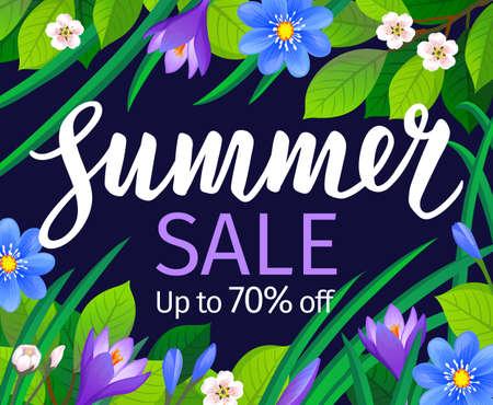 Summer sale banner template. Calligraphic Lettering on floral background. Vector illustration.