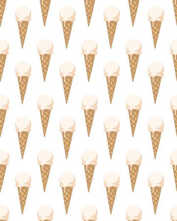 アイス クリーム コーンでシームレスなパターン。ベクトルの図。