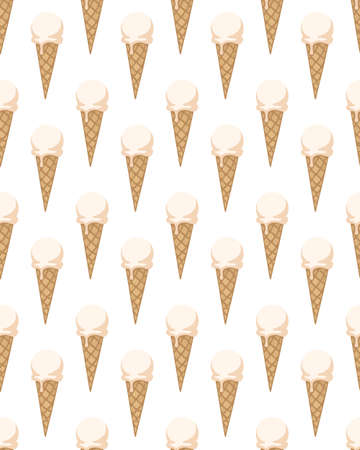Seamless pattern with ice cream cones. Vector illustration.