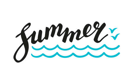 Calligraphic Lettering summer text. Vector illustration. Isolated on white