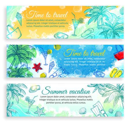 夏休み。水平型バナー テンプレートのセット。サイトのヘッダー画像。手には、ベクトルのイラストが描かれました。レトロなスタイル。