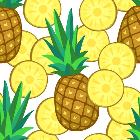 Seamless pattern with pineapple. Vector illustration Фото со стока - 80055848