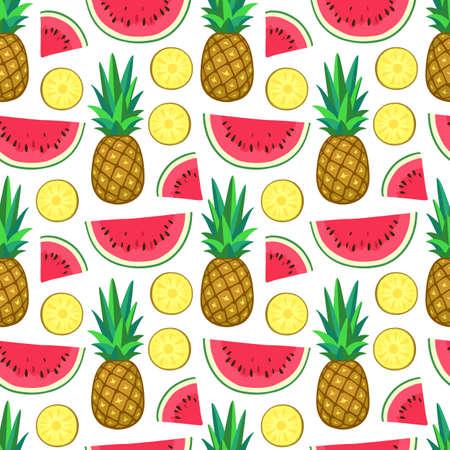 スイカとパイナップルのシームレスなパターン。ベクトルの図。 写真素材
