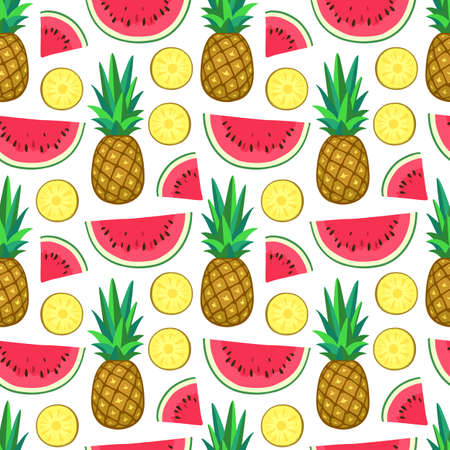 Seamless pattern with watermelon and pineapple. Vector illustration.