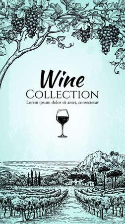 Plantilla de diseño de lista de vinos. Mano dibujado uvas de vid y viñedo paisaje. Paisaje rural. Viejo fondo de papel. Ilustración del vector del estilo de la vendimia.