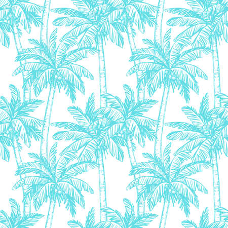 Seamless pattern with coconut palm trees Vettoriali