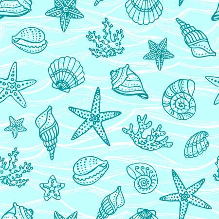 Patroon met doodle zeedieren.