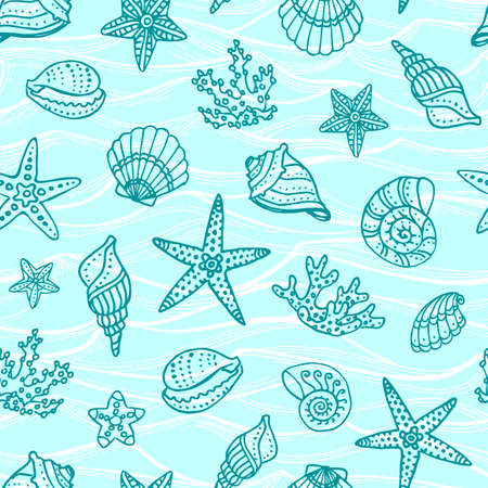 Pattern with doodle sea creatures.