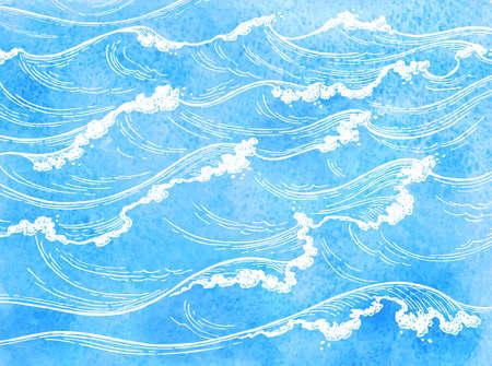 水彩画海の波。