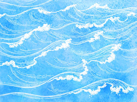 Waterverf zee golven. Stockfoto - 80927903