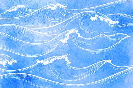Waterverf zee golven. Stock Illustratie