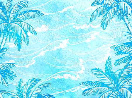 Sea waves and palm trees.