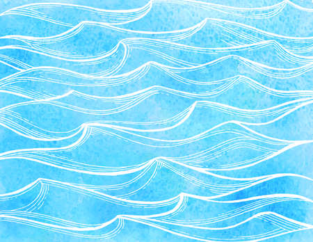 Watercolor sea waves.