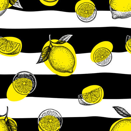 Striped seamless pattern with lemons.