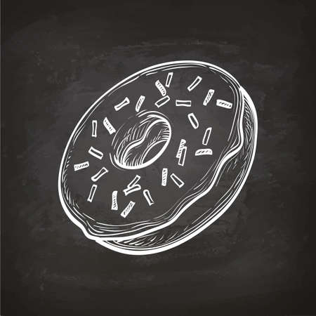 Donut sketch on chalkboard. Illusztráció