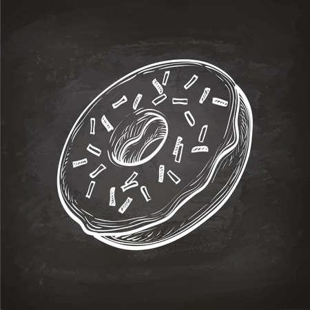 Donut sketch on chalkboard. Illustration