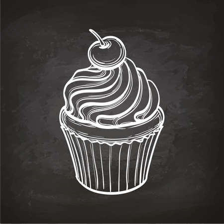 Cupcake sketch on chalkboard. 免版税图像 - 82095695