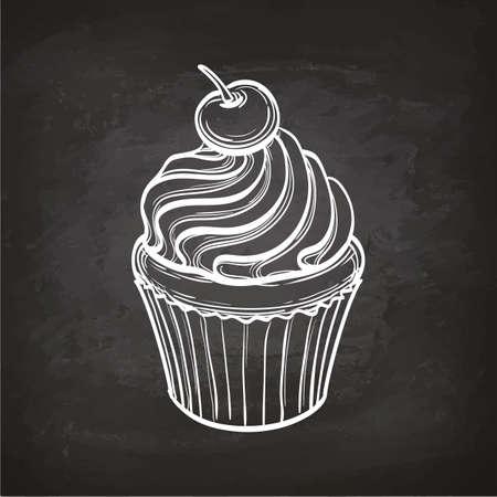 Cupcake sketch on chalkboard.