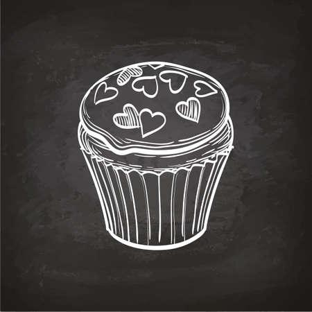 Cupcakeschets op schoolbord. Stock Illustratie