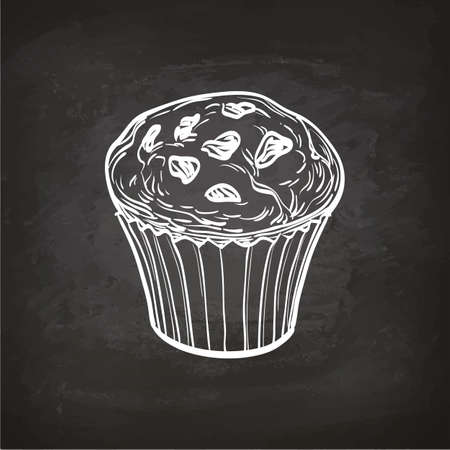 Muffin schets op bord. Stock Illustratie