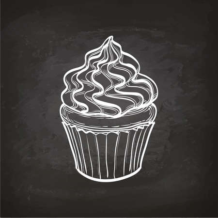 Cupcake sketch on chalkboard. Stock fotó - 82095702