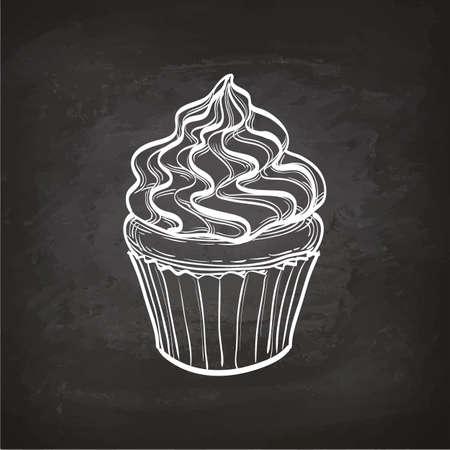 Schizzo Cupcake sulla lavagna. Archivio Fotografico - 82095702