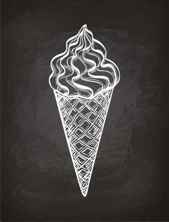 칠판에 아이스크림 콘 스케치입니다.
