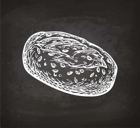 Whole grain bread. Retro style sketch on chalkboard. Hand drawn vector illustration. Çizim
