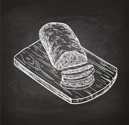 まな板の上のチャバタのパン。レトロなスタイルのチョークのスケッチ。手には、ベクター グラフィックが描画されます。