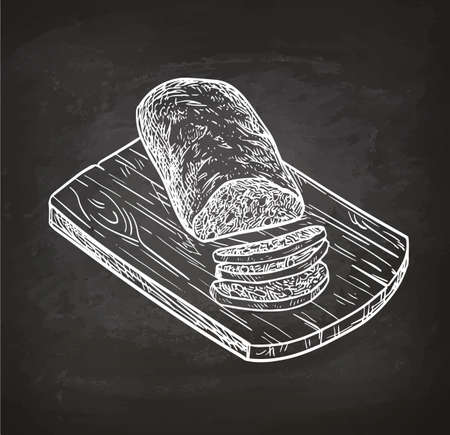 Ciabatta bread on cutting board. Retro style chalk sketch. Hand drawn vector illustration.