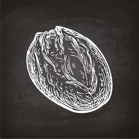 Rustic bread. Retro style sketch on chalkboard. Hand drawn vector illustration.
