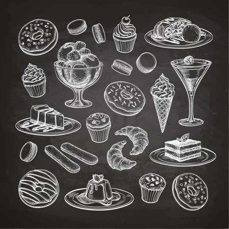 Schets set van dessert en gebak. Snoepjesinzameling op bordachtergrond. Hand getrokken vectorillustratie. Retro-stijl schets. Stock Illustratie