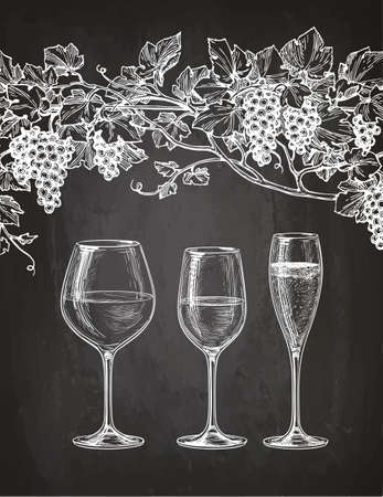 Set of wineglasses and grape vine. Red, white wine and champagne. Hand drawn sketch on chalkboard background.