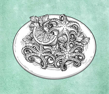Octopuses with lemon on a plate. Seafood ink sketch on old paper background. Hand drawn vector illustration. Retro style. Editable objects with clipping masks.