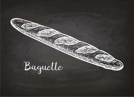 Baguette. Chalk sketch on blackboard. Hand drawn vector illustration. Retro style.