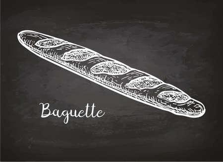 Baguette. Chalk sketch on blackboard. Hand drawn vector illustration. Retro style.